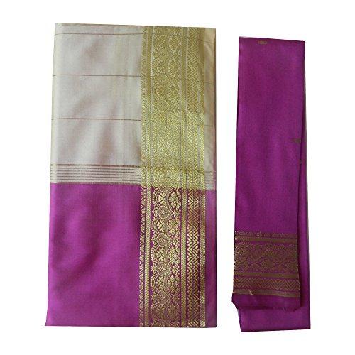 Sari brocado violeta claro beige dorado vestido tradicional de la India ropa instrucciones bindis