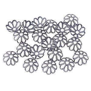 20 Perlenkappen Blütenblatt Messing Blume,metallfarbig,8×3 mm,Loch:1mm Perlen