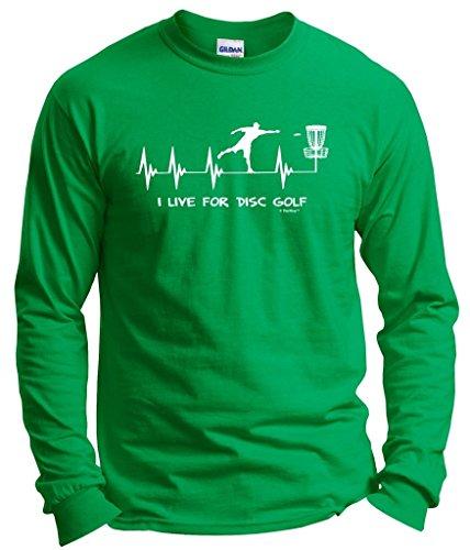Disc Golf Gift I Live for Disc Golf Heartbeat Heart Long Sleeve T-Shirt Large Green