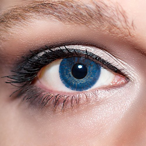 KwikSibs farbige Kontaktlinsen, dunkelblau, 1-farbig, weich, inklusive Behälter, BC 8.6 mm / DIA 14.0 / -4,00 Dioptrien, 1er Pack (1 x 2 Stück)