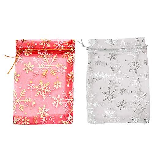 YeahiBaby 50 stücke Organza Taschen mit Kordelzug Weihnachten süßigkeiten Taschen Schmuckbeutel Süßigkeitstaschen behandeln Taschen mit Schneeflocken Muster (Rot + Weiß)