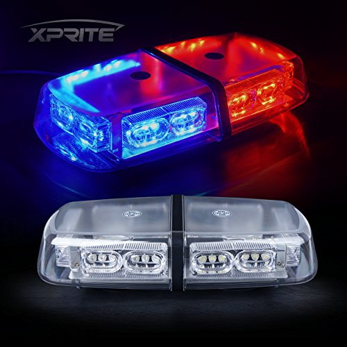 Xprite Red Blue 36 LED Rooftop Mini Bar Strobe Lights High Intensity Emergency Hazard Warning Beacon Light w/Magnetic Base for Police Safety Caution Vehicles Trucks Cars Vans