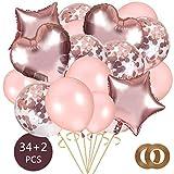 AivaToba Rose Or Ballons Anniversaire Comprendre Rose Or Confettis Ballons, Ballon Rose Gold, Ballon d'Amour en Aluminium pour Décorations d'anniversaire, Mariage,Fête