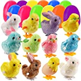 Lulu Home 12 Prefilled Easter Eggs with 12 Wind-up Bunnies and Chicks, Jumping Bunny Chick Toys Easter Basket Stuffers