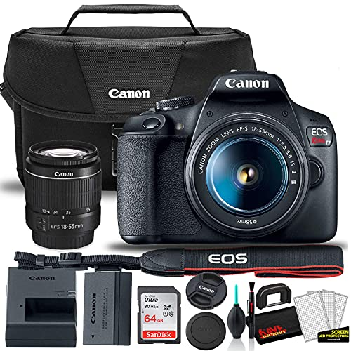 Canon EOS Rebel T7 DSLR Camera with 18-55mm Lens Starter Bundle + Includes: Canon EOS Bag + Sandisk Ultra 64GB Card + Clean and Care Kit + More (Renewed)
