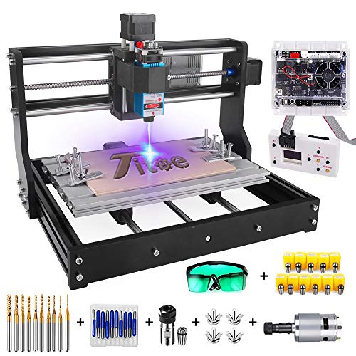 2 in 1 5500mW Engraver CNC 3018 Pro Engraving Machine, GRBLControl PCB PVC Wood Router CNC 3 Axis Milling Machine with Offline Controller and ER11 and 5mm Extension Rod