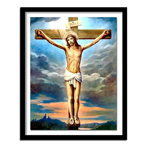 ZXXGA 5D DIY Diamante Pintura Religiosa Jesús Retrato Lienzo Rhinestone Punto de Cruz Pared Arte decoración Regalo Diamante Cuadrado 40x30cm