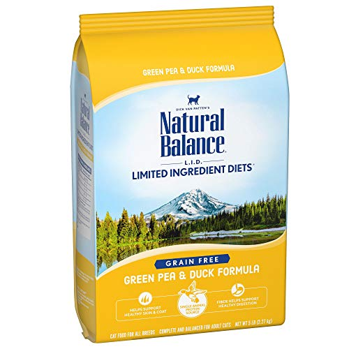 Natural Balance L.I.D. Limited Ingredient Diets Dry Cat Food, Green Pea & Duck Formula, 5 Pounds, Grain Free