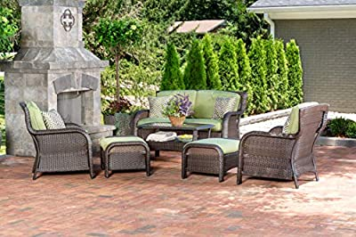 Hanover Strathmere 6-Piece Outdoor Patio Conversation Set, 2 Side Chairs with Ottomans, Loveseat and Tempered Glass Coffee Table, with Hand-Woven Wicker and Thick Navy Cushions, STRATHMERE6PCNVY