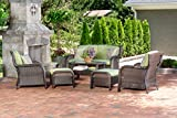 Hanover Strathmere 6-Piece Outdoor Patio Conversation Set, 2 Side Chairs with Ottomans, Loveseat and Tempered Glass Coffee Table, with Hand-Woven Wicker and Thick Cilantro Green Cushions, STRATHMERE6PC