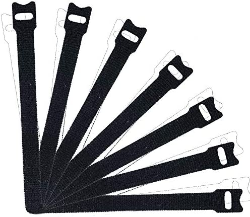50 PCS Reusable Fastening Cable Ties 8 Inch Premium Adjustable Cord Ties Black Cord Organization product image