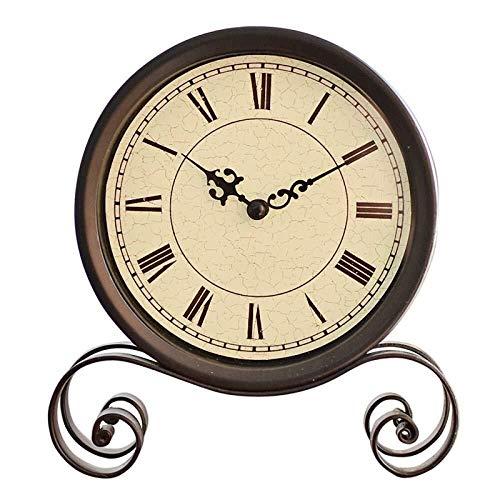 JKCKHA Brillante repisa relojes de escritorio estante reloj retro colgante clásico hogar salón decoración escritorio campana metal 19.5x17.5cm