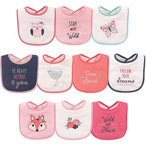 Hudson Baby Unisex Baby Drooler Bibs with Fiber Filling, Girl Fox 10-Pack, One Size
