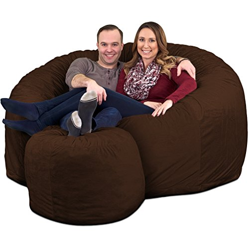 ULTIMATE SACK 6000 Bean Bag Chair w/Footstool: Giant Foam-Filled Furniture - Machine Washable Covers, Double Stitched Seams, Durable Inner Liner, and 100% Virgin Foam. Footstool Includ (Brown, Suede)