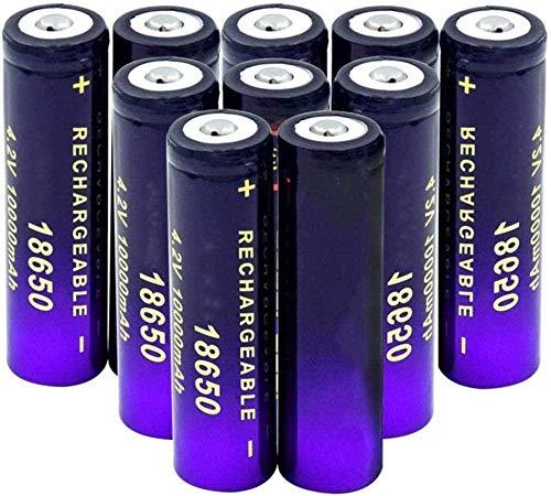 Botón Superior 3.7 V 18650 10000 MAH Li-Ion Battery Antorcha de batería Externa Radio Células de reemplazo 10 Piezas