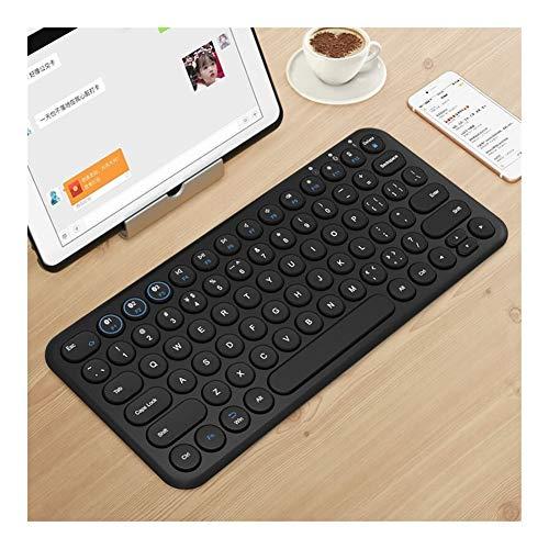 Dauerhaft Wireless Gaming Mute Tastatur Runde Keycap Bluetooth-Tastatur Ultra-Thin-Computer-Tastatur schön (Colore : Black)