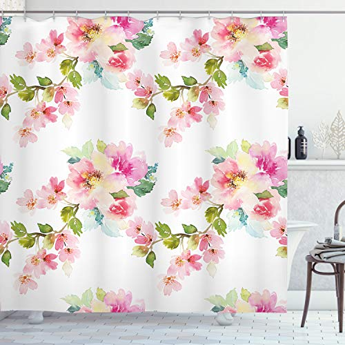 Ambesonne Floral Shower Curtain, Watercolor Stylized Shabby Chic Nature Petals in Soft Tones Artsy Picture, Fabric Bathroom Decor Set with Hooks, 70 Inches, Light Pink Fern Green