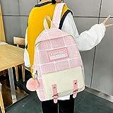 Mochilas Bolso para niña Lindo Lindo de Gran Capacidad japonés Coreano de Secundaria-Rosa