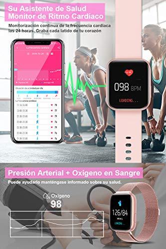 BANLVS Smartwatch Reloj Inteligente IP67 con Correa Reemplazable Pulsómetro, Monitor de Sueño, Presión Arterial, 1.4… 4