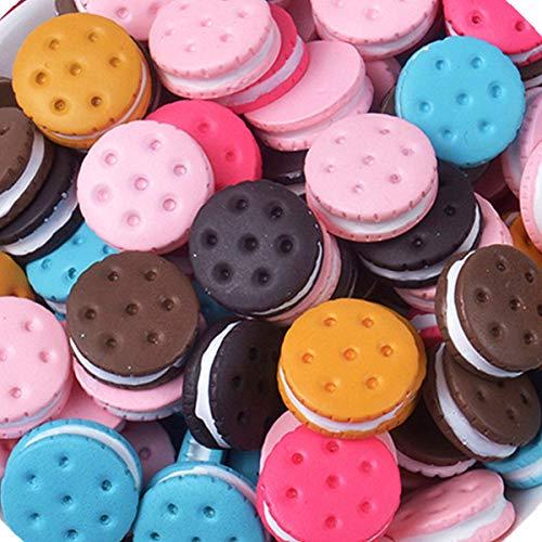 Verschillende 30 Stks Leuke Bedels Kralen Cookies Donut Macaron Dessert Ijs Hars Charms Plakt Flatback Knoppen voor Handicraft Accessoires Scrapbooking Telefoonhoesje Decor Sieraden Maken Cookies