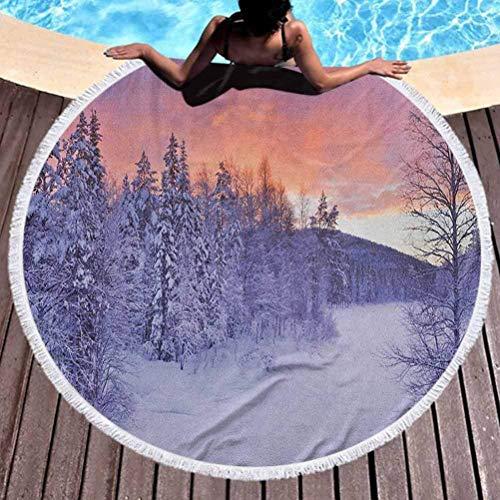 Olie Cam Runder Strandtuch-Winter-gefrorener Fluss in Einer finnischen Landschaft Finnisches Lappland der Winterlandschaft im arktischen Nordland des Sonnenaufgangs