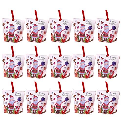 Cabilock Home Caixa de biscoitos de Natal com 25 peças adoráveis para biscoitos de chocolate, elementos de Natal, caixas de presente para festas em casa (branco, estampa de Papai Noel)