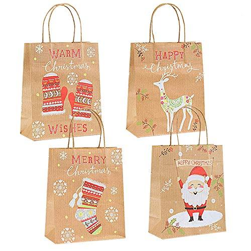 Gudotra 24pcs Bolsa de Papel Kraft Navidad Bolsas Recuerdo Gracias Invitados Boda Cumplaños Navidad...