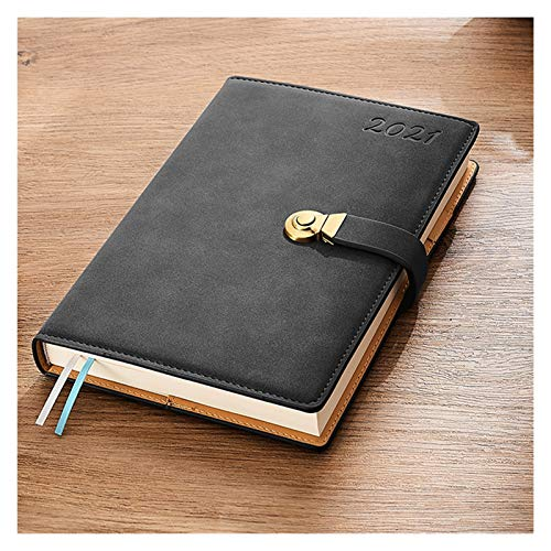 WGH 2021 Daily 2021 Daily Hourly Planner/Appointment Book,Faux Sheepskin Cover Diary with Vintage Copper Clasp,24-Hourly Business Planner 2021 Planner (Color : Black)