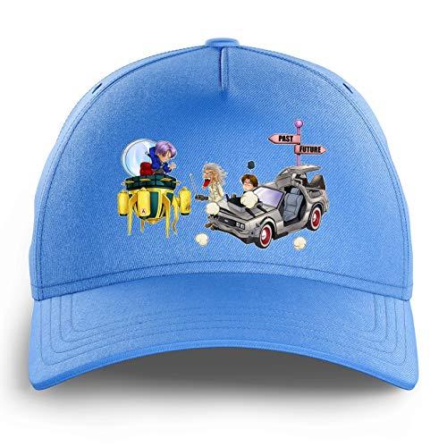 Casquette Enfant Bleue Clair parodie Dragon Ball Z - Retour vers le Futur - Trunks, Marty MacFly et Doc Brown - Retour vers le Futur du futur...(Casquette de qualité supérieure - Taille unique ajus
