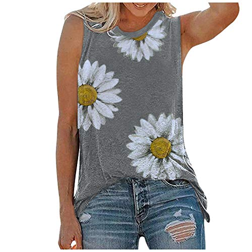 fesfesfes Sunflower Tank Tops for Women Summer Cute Sleeveless Tops Casual Tee Crewneck Tunic Shirt Loose Blouse.S-5XL Gray