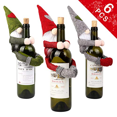 6pcs Christmas Gnomes Wine Bottle Cover Home Holiday Christmas Decorations