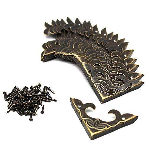 LUCY WEI 20 Stück Antique Brass Metallecke Eckenschutz Vintage Ecken Dekoration für Schmuck Geschenkbox Kleine Holzkiste Zubehör (30x30x4.5mm)