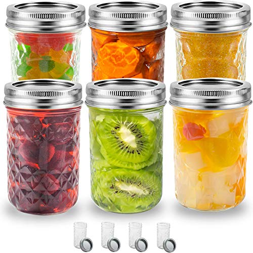 Mason Jars 8OZ 10PACK, Regular Mouth Jars with Lids and Bands, Quilted Crystal Jars Ideal for Jams, Jellies, Conserves, Preserves, Fruit Syrups, Chutneys, and Pizza Sauce