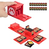 Switch Game Card Case, Game Card Holder for Nintendo Switch Games with 16 Card Slots, Fun Gift for Kids (Mario Red)