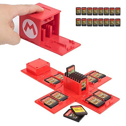 JEETA Étui pour Carte mémoire Nintendo Switch, de Rangement de Protection Organisateur de Cartes de Jeu Étui Rigide avec 16 emplacements,Étui de Rangement pour Jeux Nintendo Switch (Mario Red)