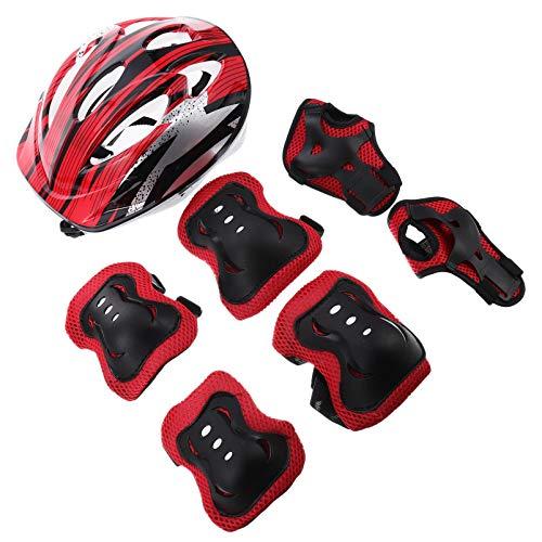GARNECK Red Kids Gear Set Casco Rodilleras Y Codos Almohadillas con Protectores de Muñeca Protección Completa para Patines de Ruedas Ciclismo BMX Bicicleta Skateboard en Línea Scooter