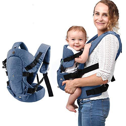 Xatan Blau Baby-Trage, alle möglichen Tragepositionen für Neugeborene und Kleinkinder, ergonomischer Tragerucksack mit weichem, atmungsaktivem Mesh-Gewebe und komplett verstellbaren Schnallen