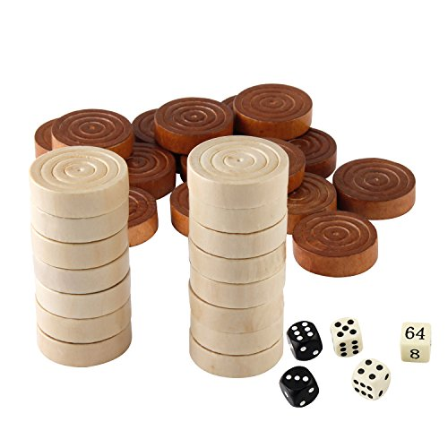 Amerous Thread Wooden Checkers Pieces Nature Wood Backgammon Pieces with Drawstring Bag, 5 Dices Included