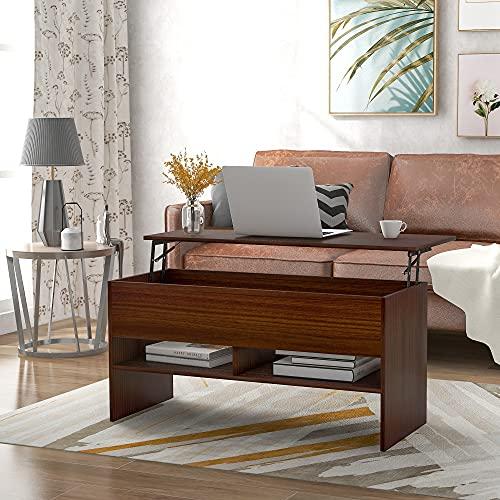 adawd Mesa de centro con tablero de altura ajustable, mesa de salón, mesa de café extensible, mesa de sofá para salón, oficina, espresso (105 x 45 x 50 cm)