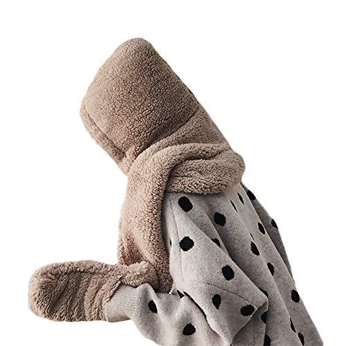 DEBAIJIA Sombrero de mujer Conjunto de bufanda Guantes tejidos Cordero integrado Cachemira Acogedor Conjunto de tres piezas mujer para exteriores Invierno Casual Cálido Suave Color sólido 3 in 1
