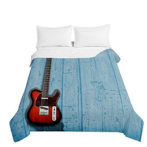 Colcha de Verano Cubrecama Colcha Bouti, Chickwin 3D Guitarra Edredón Manta de Dormitorio Suave Ligero Multiuso Colchas para Cama Infantil Individual Matrimonio (Grano de Madera,180x220cm)
