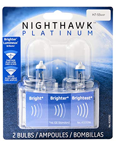 GE Lighting H7-55NHP/BP2 Nighthawk Platinum Replacement Bulb, 2-Pack