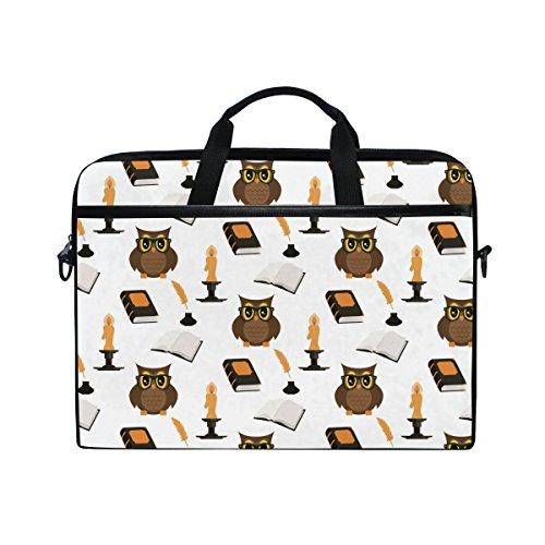 Ahomy Owl Brille Old Book 14-15,4 Zoll Multifunktionale Stoff Wasserdicht Laptop Tasche Aktentasche Schultertasche Messenger Bag