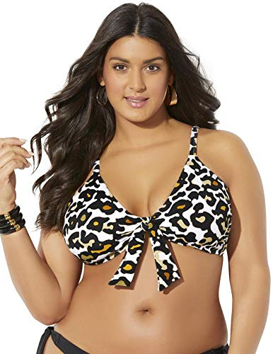 Swimsuits For All Women's Plus Size Mentor Tie Front Bikini Top 16 Animal Print Multicolored