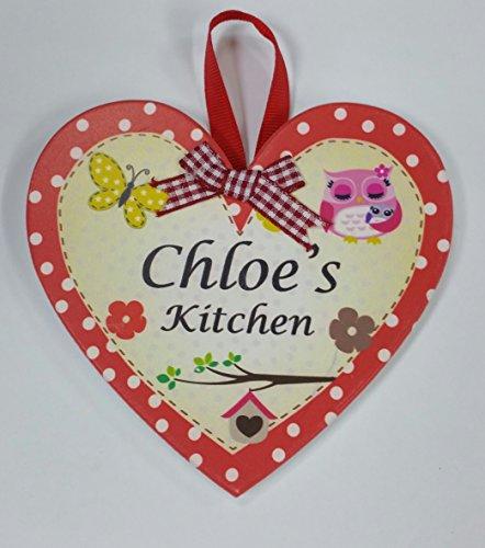 Chloe nommé personnalisé en forme de cœur Kitchen Plaque magnétique par Sterling effectz