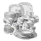 VEWEET Serena Vajillas de 40 Piezas Juegos de Porcelana con 8 Hueveras, 8 Tazas Mugs 350 ml, 8 Cuencos de Cereales, 8 Platos y 8 Platos de Postre para 8 Personas