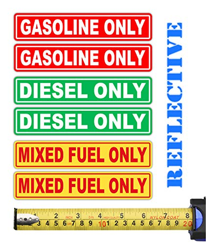 6 Pack | Reflective Mixed Fuel Only, Gasoline Only, Diesel Only, Fuel Marker Combo Pack Label Decal Vinyl Sticker | Fuel Decal | Truck | Gas Tank Label | Gas Container Label | Oil Marker