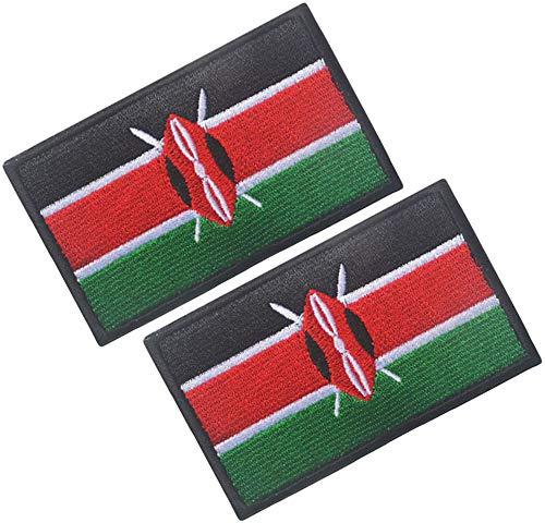 HFDA 2 Stück verschiedene Länderflaggen Patch – Taktischer Kampf Militär Haken und Schlaufe bestickt Morale Patch 2x3 in Kenya