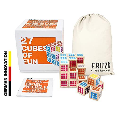 FRITZO® Cube Premium Holzspiel Gesellschaftsspiel & Knobelspiel für Erwachsene, Jugendliche & Kinder 3D Zauberwürfel als Familienspiel - Wer ist der Würfelkönig?