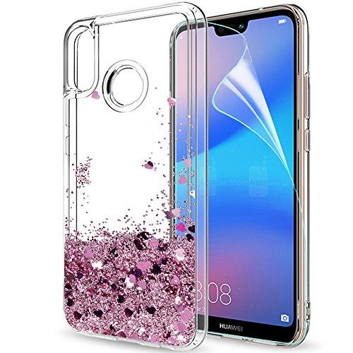 LeYi Funda Huawei P20 Lite Silicona Purpurina Carcasa con HD Protectores de Pantalla Transparente Cristal Bumper Telefono Gel TPU Fundas Case Cover para Movil P20 Lite ZX Oro Rosa